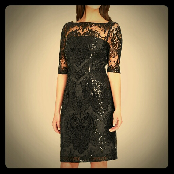 c3338064 Tahari Dresses | Nwt 14 Black Sequin Lace Cocktail Dress | Poshmark